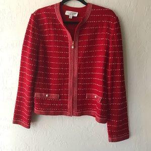 St. John Red Striped Textured Knit Jacket Zipper